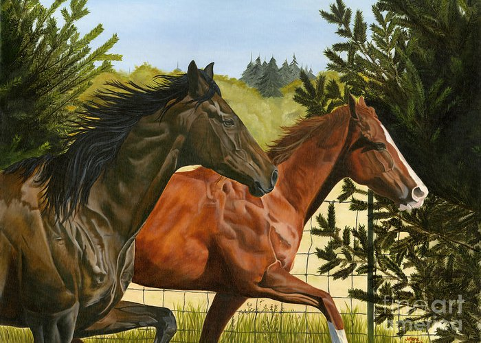 Horse Greeting Card featuring the painting Inseparable by Jolene Scott