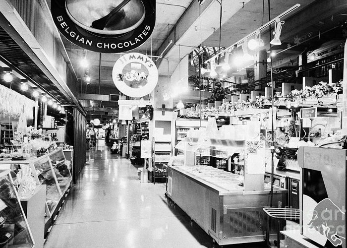 Lonsdale Greeting Card featuring the photograph inside lonsdale quay market shopping mall north Vancouver BC Canada by Joe Fox