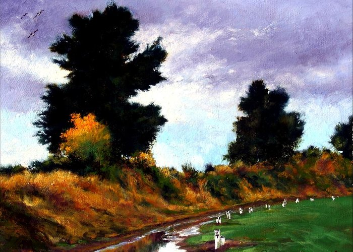 Landscape Greeting Card featuring the painting Inside The Dike by Jim Gola