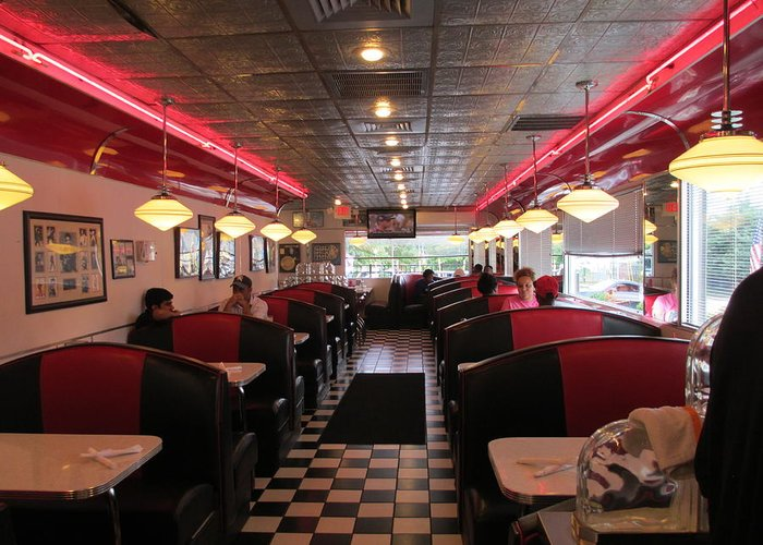 Chrome Greeting Card featuring the photograph Inside The Diner by Randall Weidner