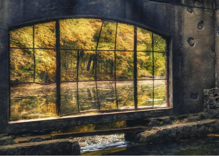 Window Greeting Card featuring the photograph Inside The Old Spring House by Scott Norris