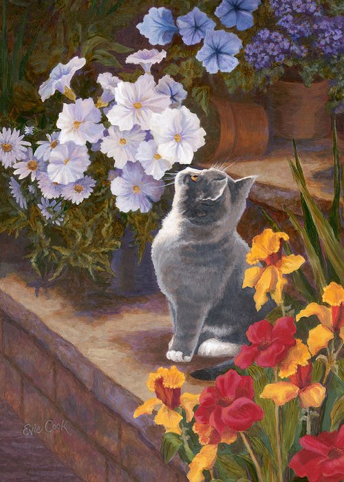 Cat Greeting Card featuring the painting Inspecting The Blooms by Evie Cook