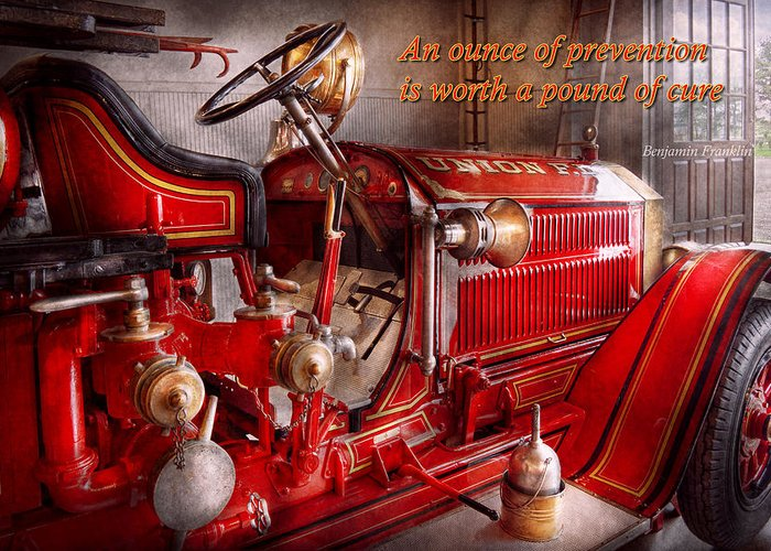 Fireman Greeting Card featuring the photograph Inspiration - Truck - Waiting For A Call by Mike Savad