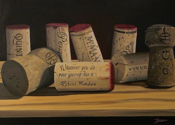 Wine Art Greeting Card featuring the painting Inspirational by Brien Cole