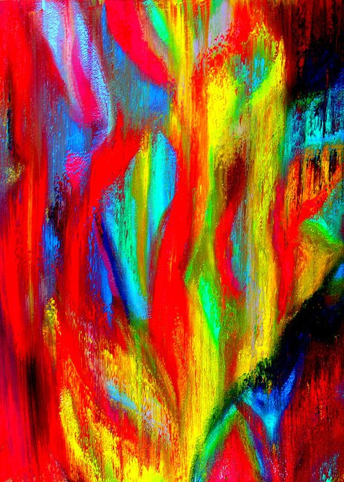 Abstract Greeting Card featuring the painting Inspire Experiment by Stan Hamilton