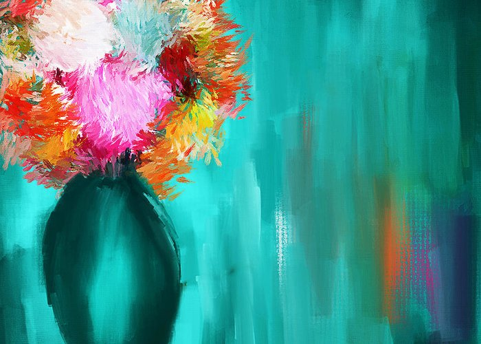 Turquoise Vase Greeting Card featuring the painting Intense Eloquence by Lourry Legarde