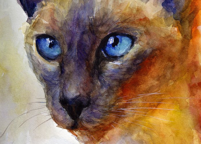 Siamese Cat Art Greeting Card featuring the painting Intense Siamese Cat Painting Print 2 by Svetlana Novikova