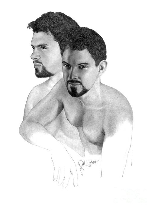 Pencil Drawing Print Greeting Card featuring the drawing Intense Stare by Joe Olivares