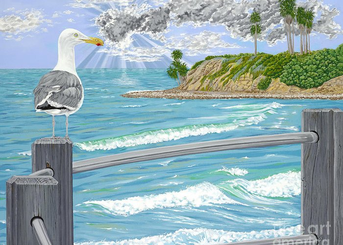 Sea Gull Greeting Card featuring the painting Intensity by John Wilson