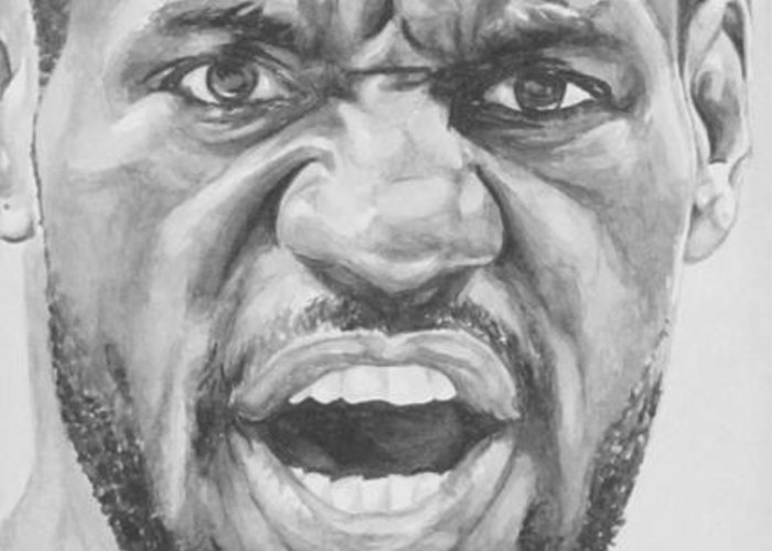 Lebron Greeting Card featuring the painting Intensity Lebron James by Tamir Barkan