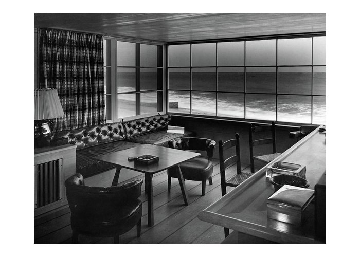 Interior Greeting Card featuring the photograph Interior Of Beach House Owned By Anatole Litvak by Fred R. Dapprich