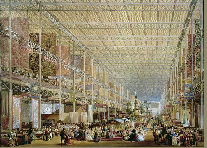 Architecture Greeting Card featuring the drawing Interior Of The Great Exhibition Of All by Edmund Walker