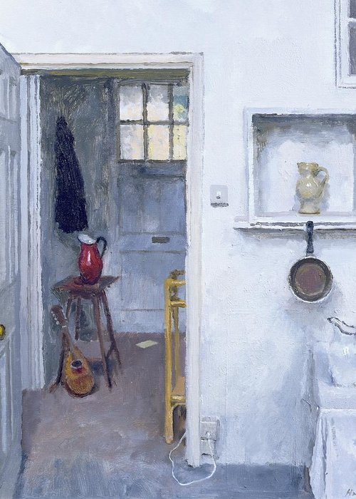 Saucepan; Guitar; Lute; Pitcher; Ewer; Kitchen; Pantry; Domestic; Back Door; Socket; Prise Electrique Greeting Card featuring the painting Interior With Red Jug by Charles E Hardaker