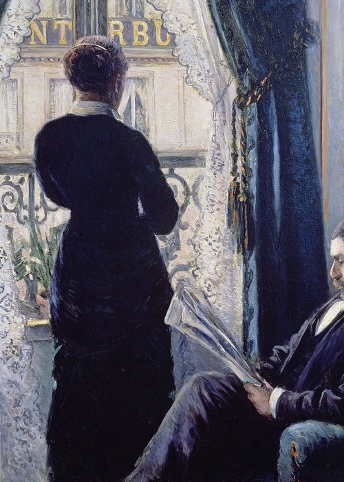 Female; Male; Seated; Reading; Newspaper; Lace Curtains; Parisian; Balcony; Staring; Domestic Scene; Daily Life; Bourgeoisie; Bourgeois; Boredom; Waiting; View Across A Balcony Greeting Card featuring the painting Interior Woman At The Window by Gustave Caillebotte