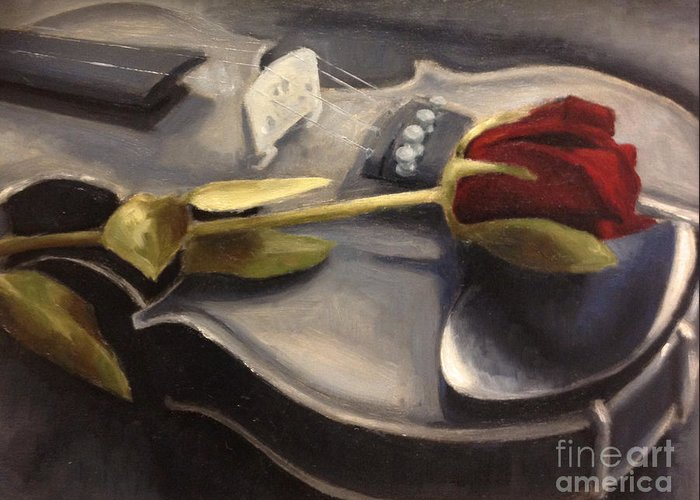 Violin Greeting Card featuring the painting Interlude by Alison Schmidt Carson