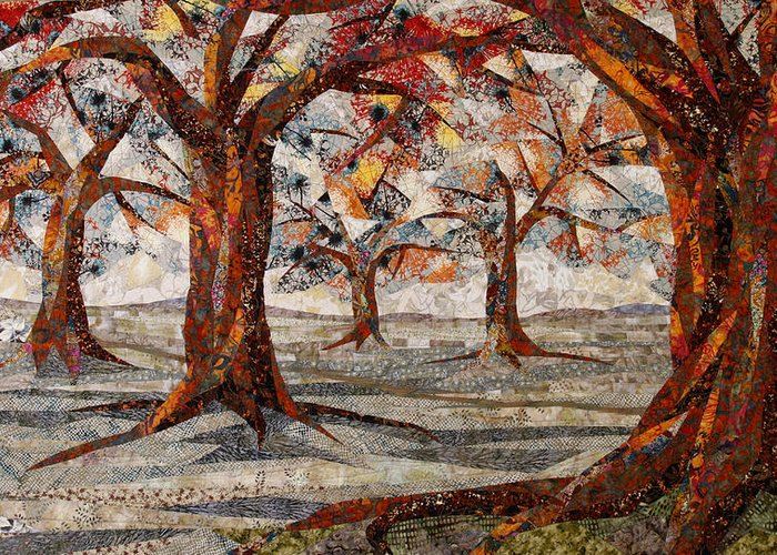 Trees Greeting Card featuring the tapestry - textile Interwoven by Linda Beach