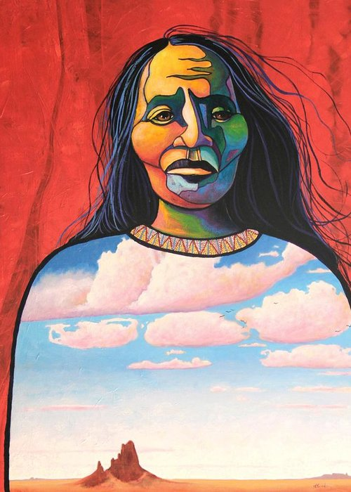Native American Greeting Card featuring the painting Into Her Spirit by Joe Triano
