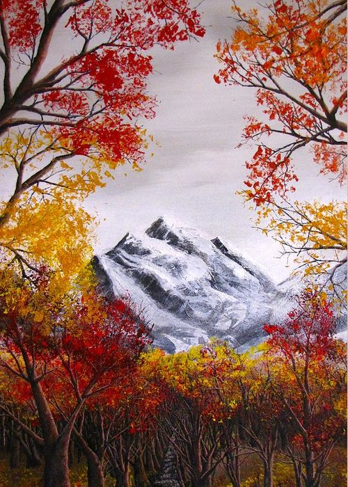 Fall / Autumn Trees Greeting Card featuring the painting Into The Mountains by Pheonix Creations