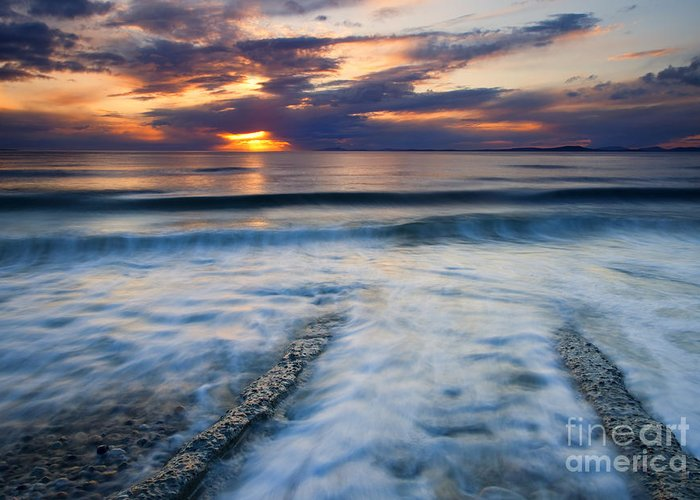Seascape Greeting Card featuring the photograph Into The Sea by Mike Dawson