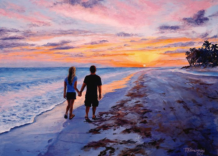 Beach Greeting Card featuring the painting Into The Sunset by Mary Giacomini