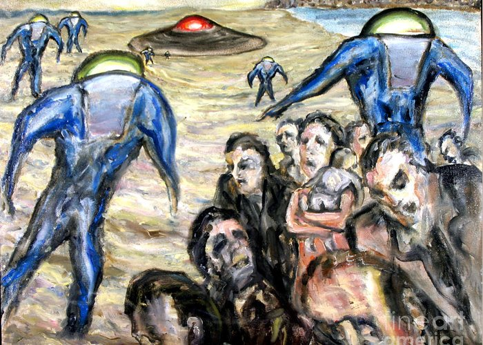 Aliens Greeting Card featuring the painting Invasion by Arthur Robins