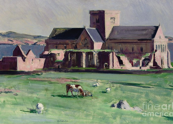 Cadell Greeting Card featuring the painting Iona Abbey From The Northwest by Francis Campbell Boileau Cadell