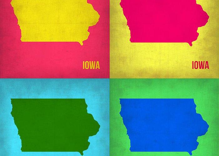 Iowa Map Greeting Card featuring the painting Iowa Pop Art Map 1 by Naxart Studio