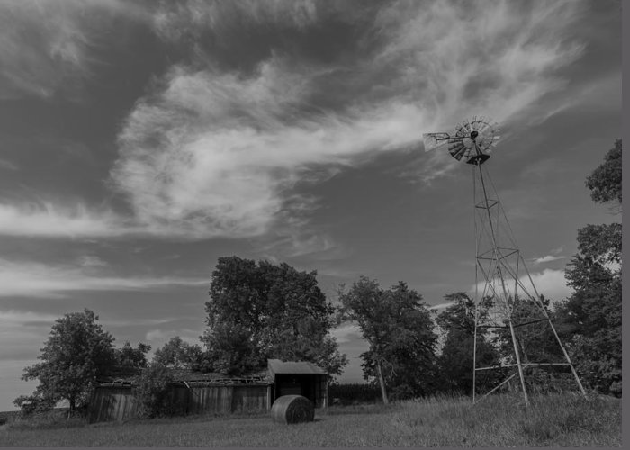 Landscape Greeting Card featuring the photograph Iowa Windmill by Jake Thompson