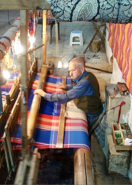 Weaver Greeting Card featuring the photograph Iran Textile Weaver by Lois Ivancin Tavaf