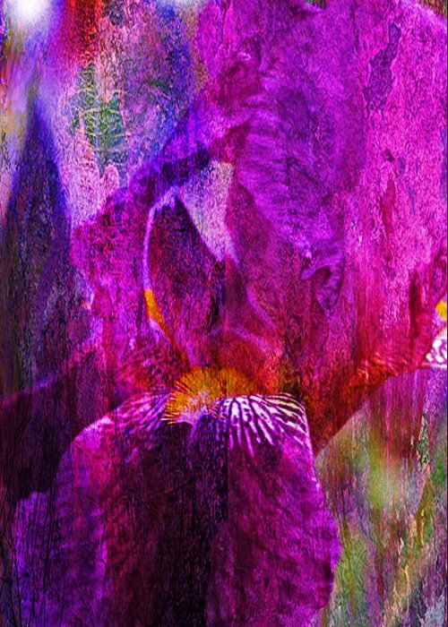 J Larry Walker Greeting Card featuring the photograph Iris Abstract by J Larry Walker