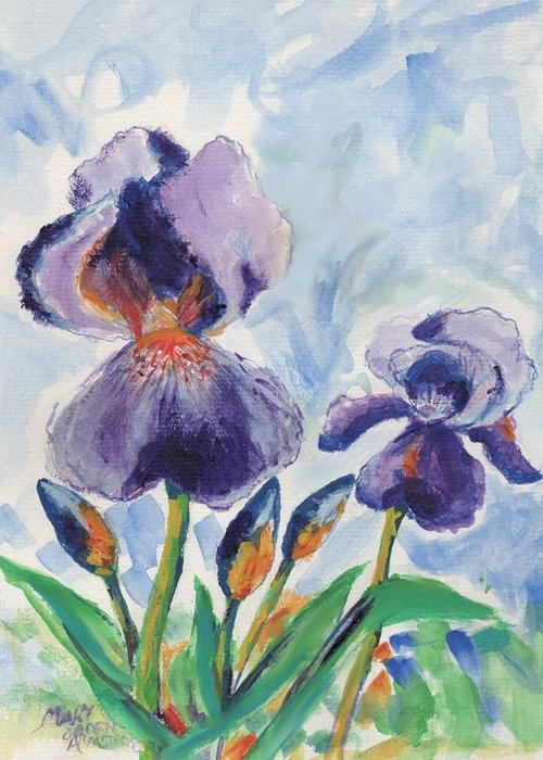 Flower Greeting Card featuring the painting Iris Blooms by Mary Armstrong