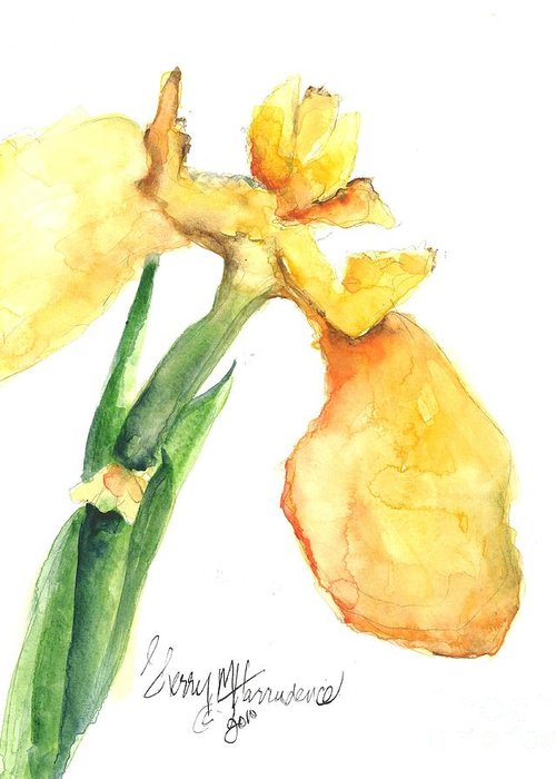 Owl Greeting Card featuring the painting Iris Blooms by Sherry Harradence