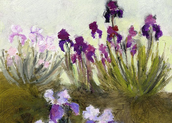 Iris Greeting Card featuring the painting Iris In The Yard by J Reifsnyder