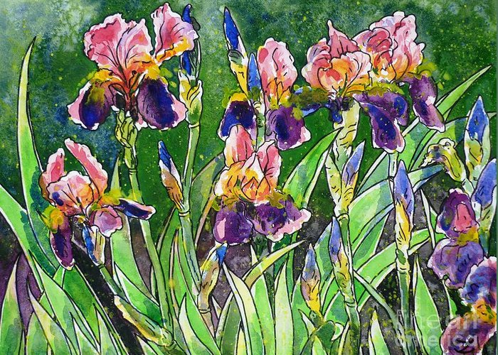 Iris Greeting Card featuring the painting Iris Inspiration by Zaira Dzhaubaeva