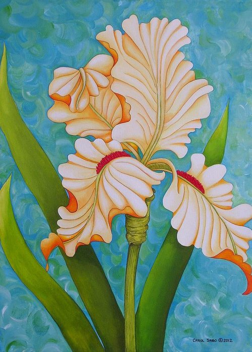 Acrylic Greeting Card featuring the painting Iris the Beauty of One by Carol Sabo
