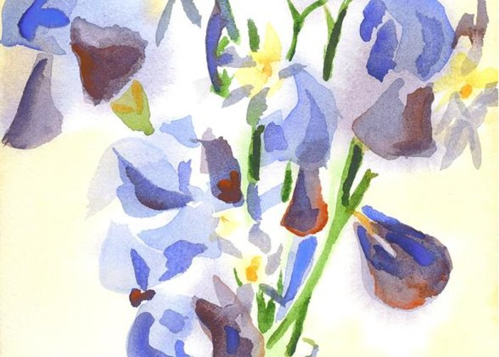 Irises Aglow Greeting Card featuring the painting Irises Aglow by Kip DeVore