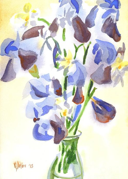 Irises Aglow Greeting Cards
