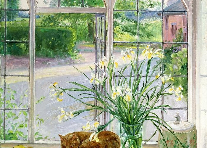 Apple; Lemon; Window; Garden Greeting Card featuring the painting Irises And Sleeping Cat by Timothy Easton
