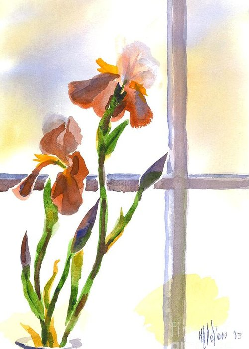 Irises In The Window Greeting Card featuring the painting Irises In The Window by Kip DeVore