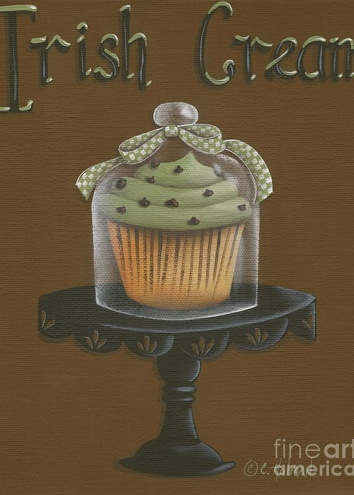 Art Greeting Card featuring the painting Irish Cream Cupcake by Catherine Holman