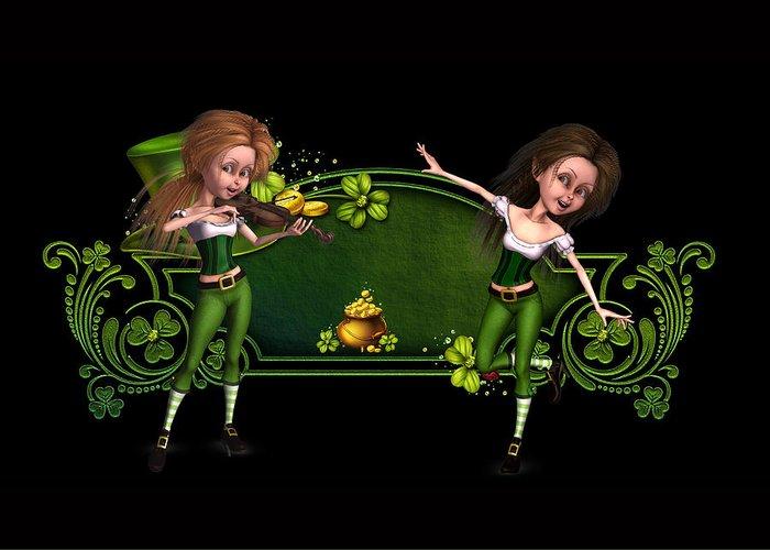 Irish Dancers Greeting Card featuring the digital art Irish dancers ii by John Junek