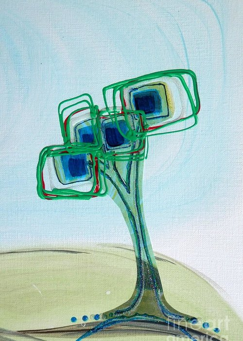 Hand Painted Acrylic Trees Greeting Card featuring the painting Irish Geom Tree by L Cecka