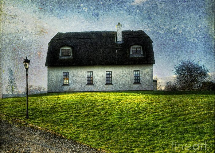 Accommodation Greeting Card featuring the photograph Irish Thatched Roofed Home by Juli Scalzi