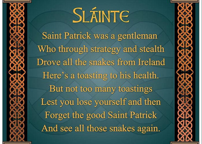 Irish toast slainte greeting card for sale by ireland calling slainte greeting card featuring the digital art irish toast slainte by ireland calling m4hsunfo