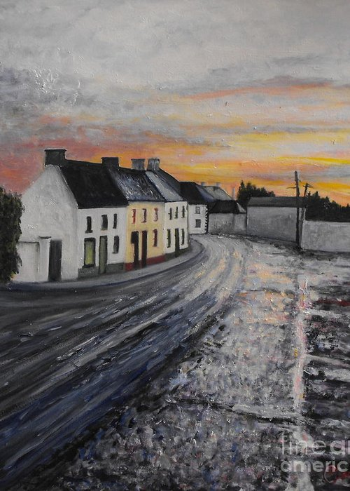 Irish Village Greeting Card featuring the painting Rathvilly After The Rain by Caroline Cunningham
