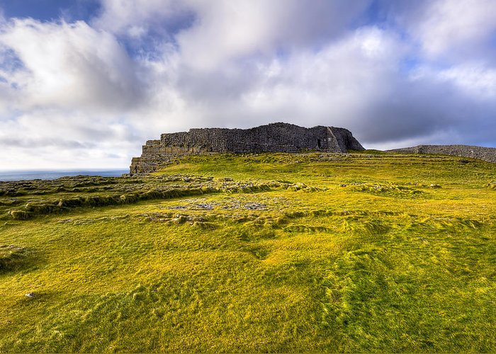 Galway Greeting Card featuring the photograph Iron Age Ruins Of Dun Aengus On The Irish Coast by Mark E Tisdale