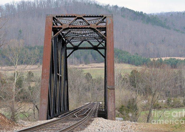 Railroad Greeting Card featuring the photograph Iron Bridge by Brenda Dorman