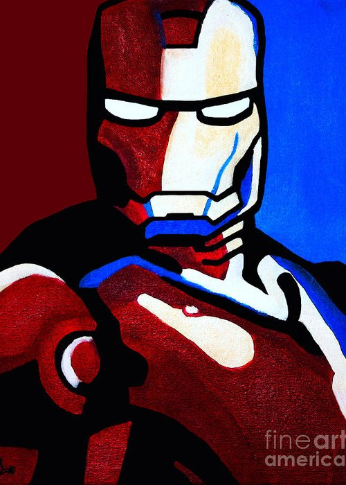 Ironman Greeting Card featuring the painting Iron Man 2 by Barbara McMahon