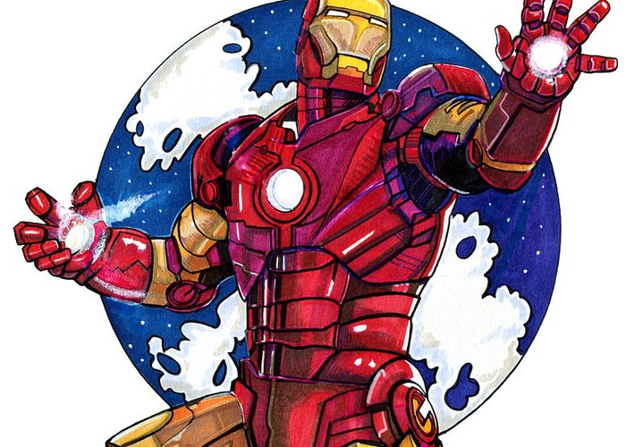Iron Man Greeting Card featuring the drawing Iron Man by Dave Olsen