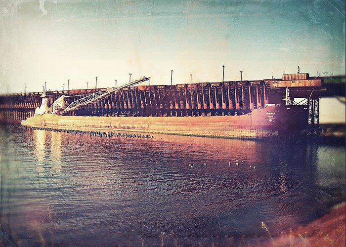 Iron Ore Freighter Greeting Card featuring the digital art Iron Ore Freighter In Dock by Phil Perkins